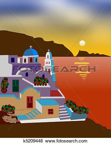 Stock Illustration of Greek island k5374847.