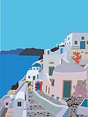 Greek islands clipart.