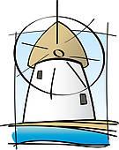 Clip Art of Greek Island Mill k12227637.
