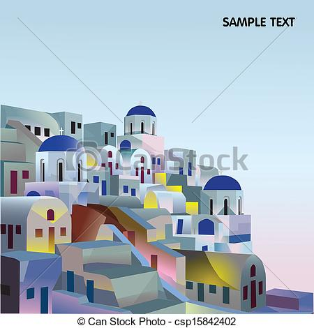 Vector Clipart of greece, A Village in the Greek Islands at Sunset.