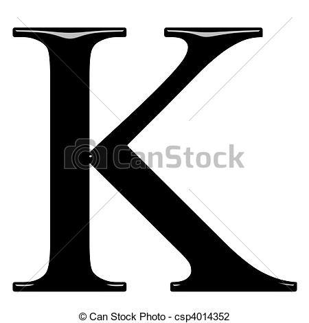 Clip Art of 3D Greek Letter Kappa.