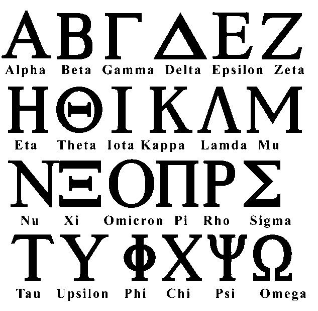Greek alphabet clipart.