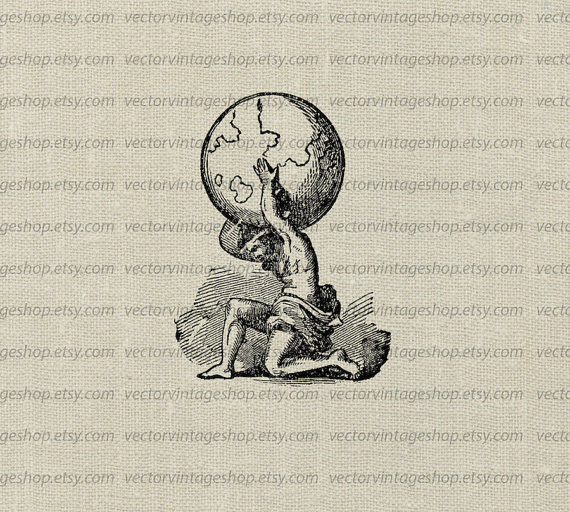 Atlas Myth Vector Clip Art Graphic Instant Download Ancient.