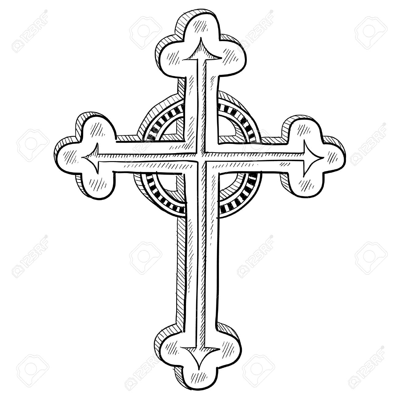 Doodle style Greek Orthodox cross illustration in vector format.