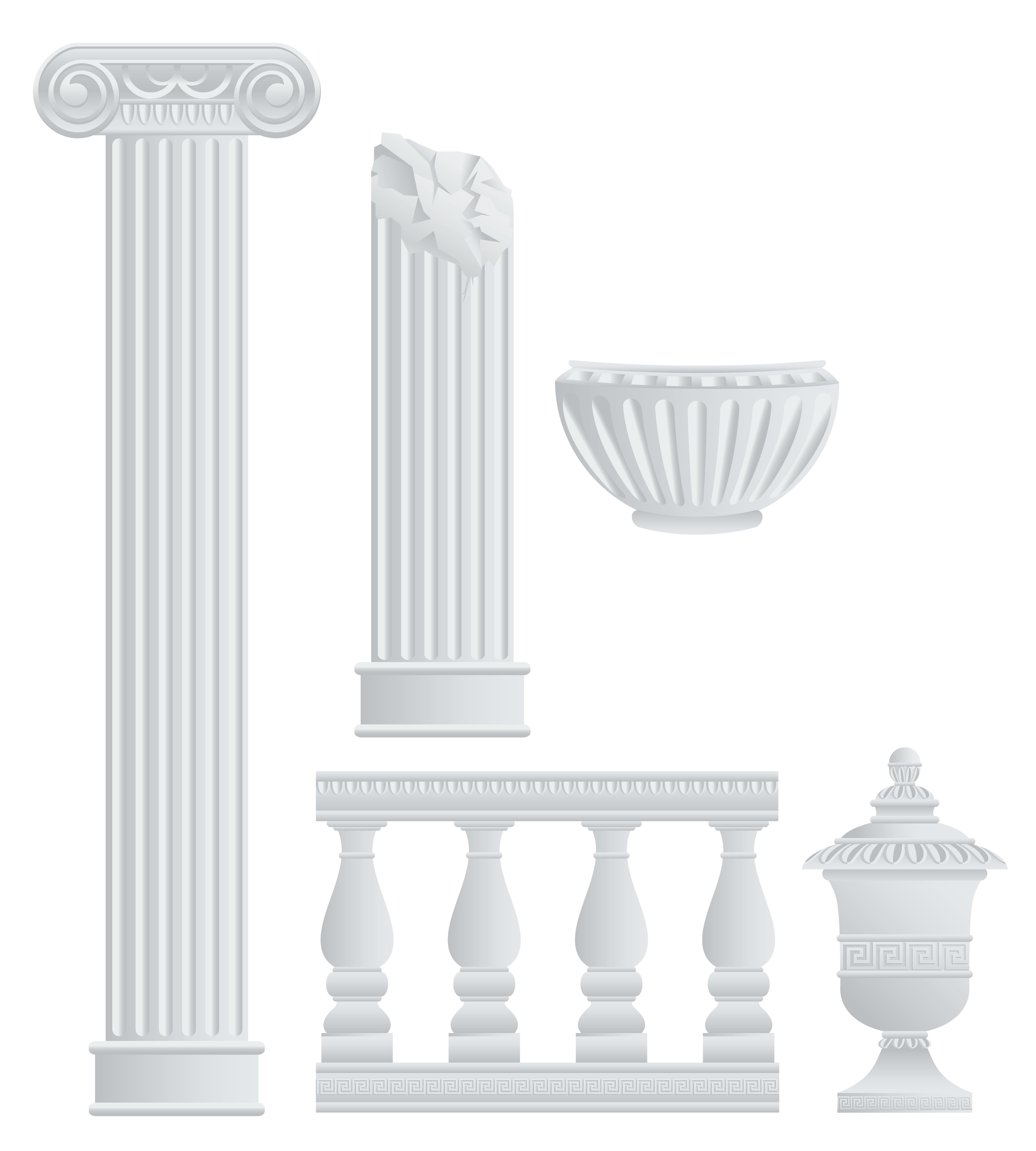 Greek Fence Columns and Elements PNG Clipart.
