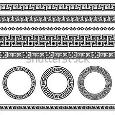 Greek border pattern design elements vector..