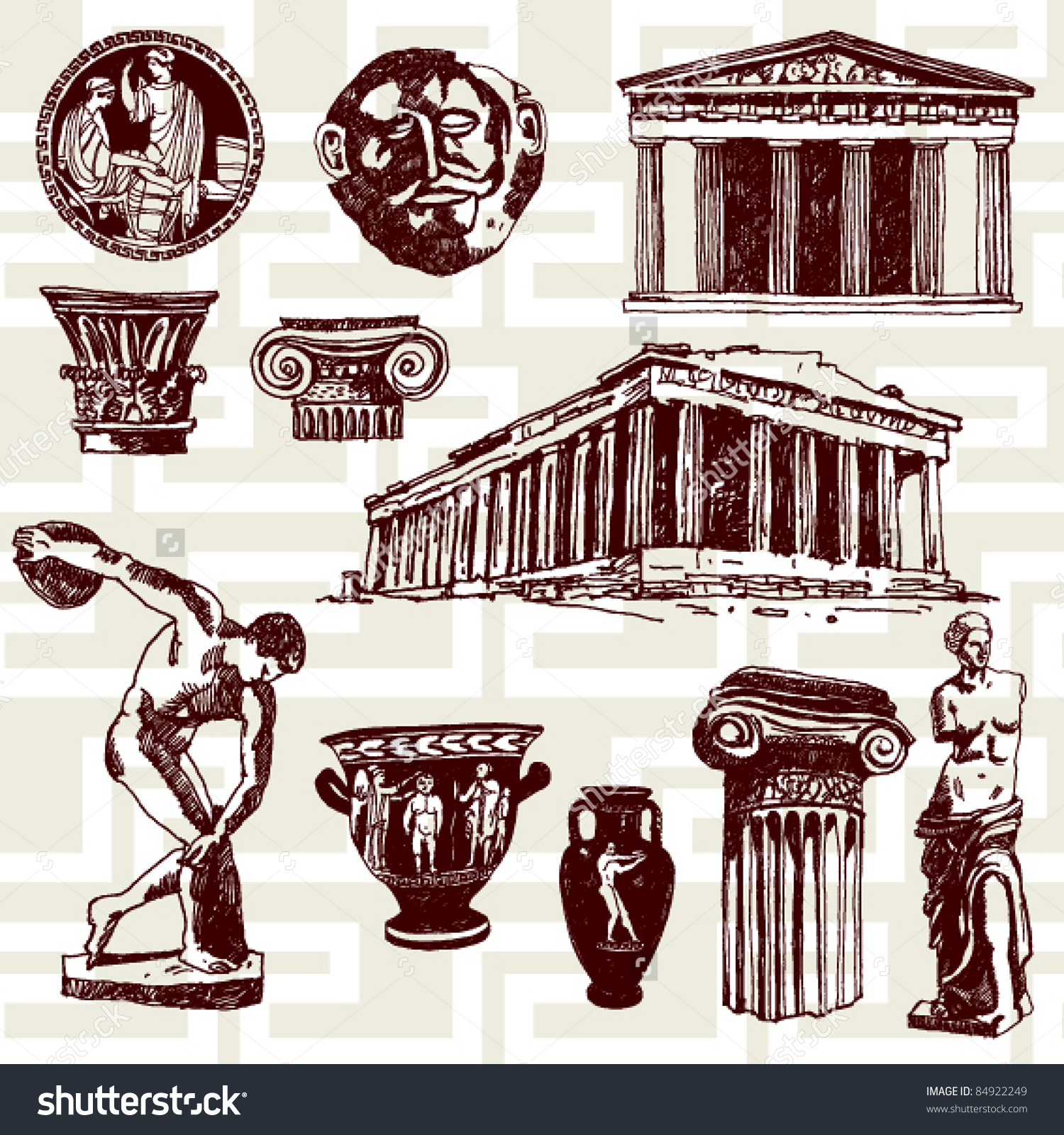 Hand Drawn Illustration Ancient Greece Elements Stock Vector.