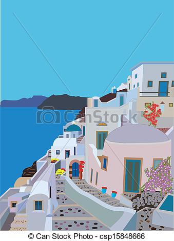 Clip Art Vector of Greek Village.