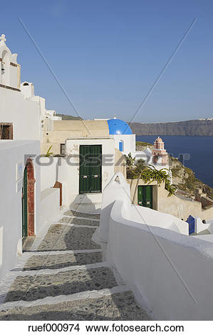 Stock Photo of Greece, View of traditionally Greek town of Oia at.