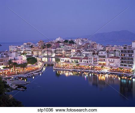 Stock Images of Seaside Greek town of Agios Nikolaos on eastern.