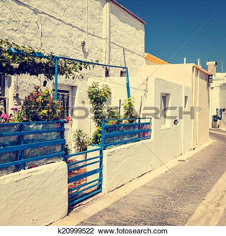 Stock Photo of greek town, vintage look k20999522.