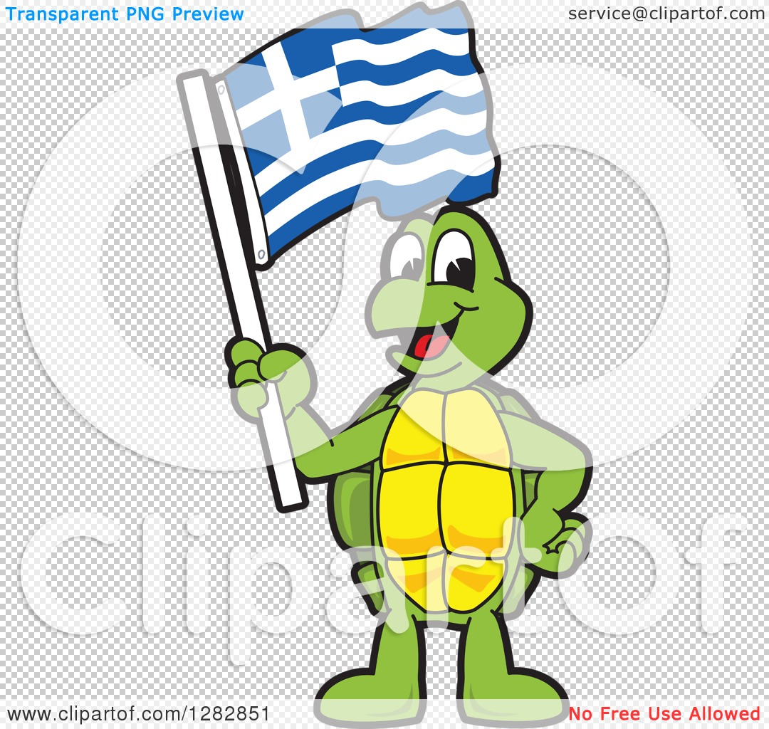 Clipart of a Happy Turtle School Mascot Character Holding a Greek.