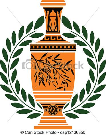Clipart Vector of greek vase with laurel wreath csp12136350.