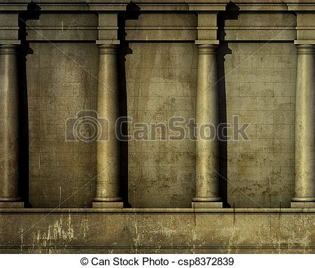 Stock Illustration of 3d antique classic architecture Greek Roman.