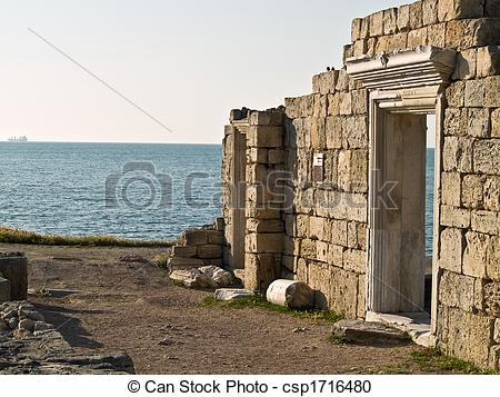 Stock Photography of Ruined Ancient Greek Wall of Temple.