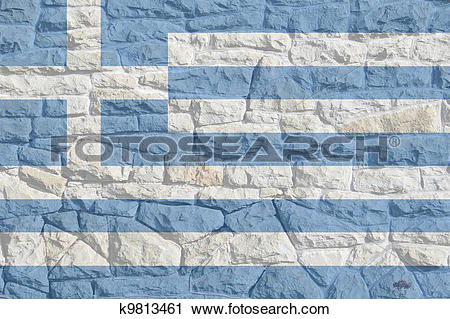 Clipart of Greek Flag on Rock Wall k9813461.