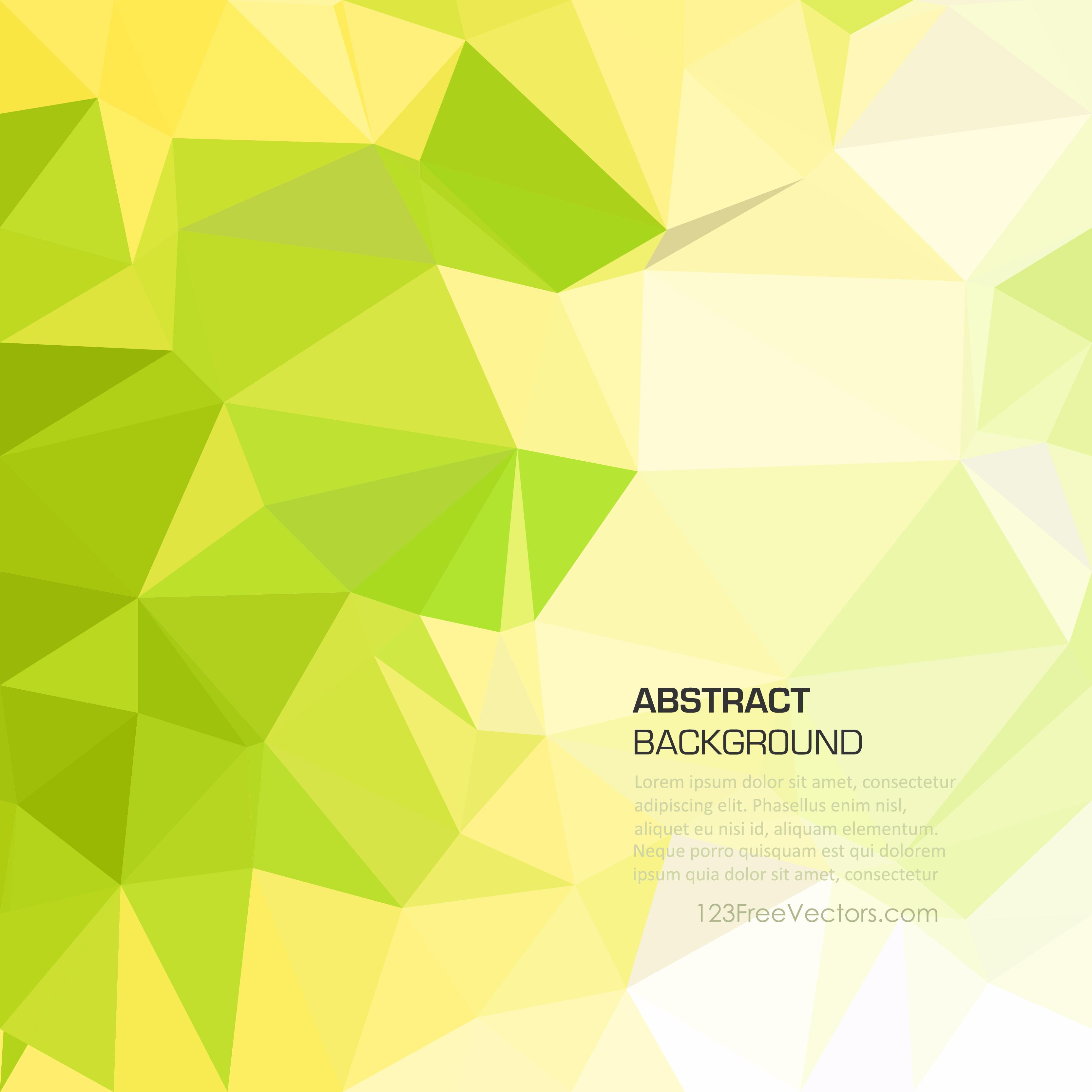 Yellow Green Abstract Polygonal Triangular Background Clip Art.