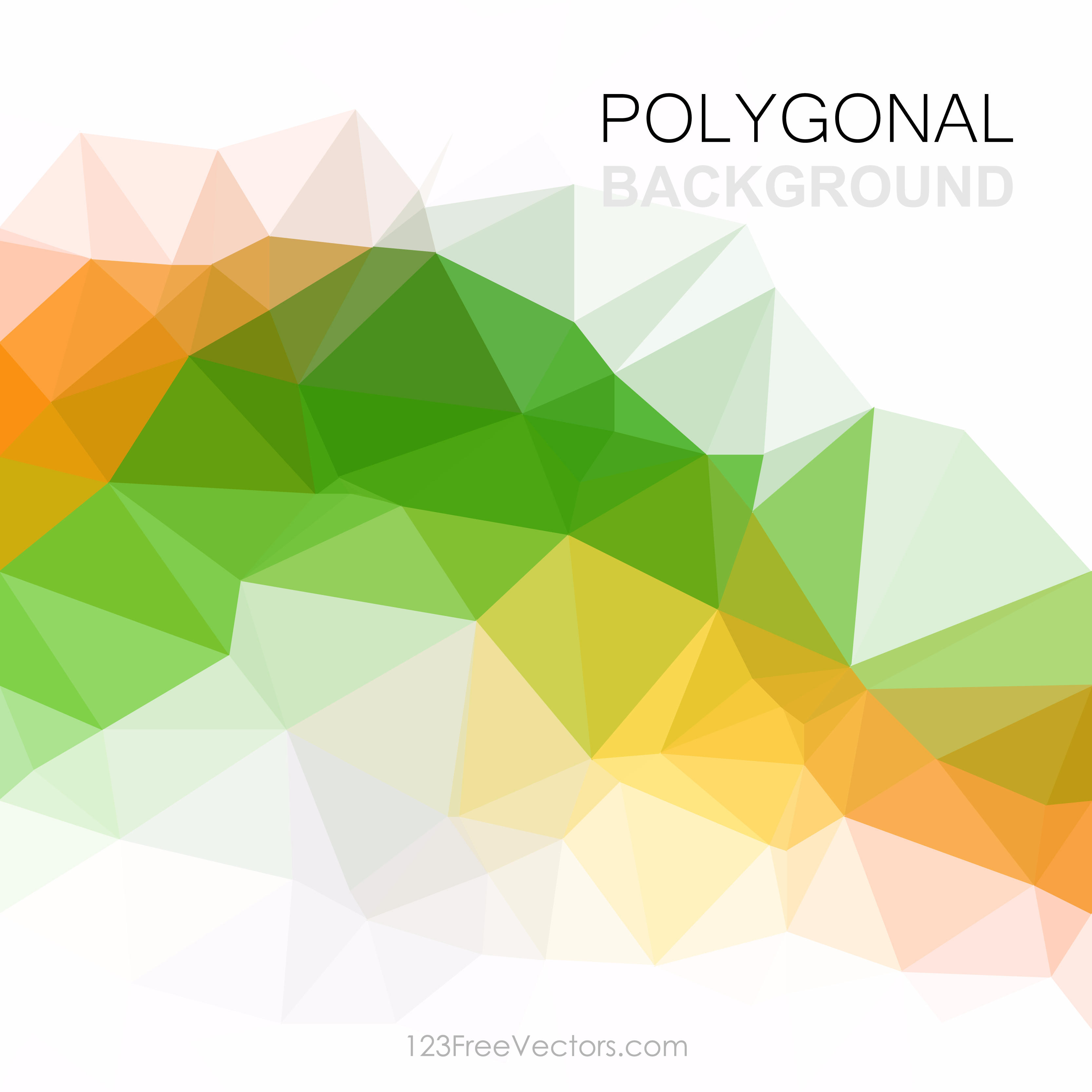 Orange Green Abstract Polygonal Triangular Background Clip Art.