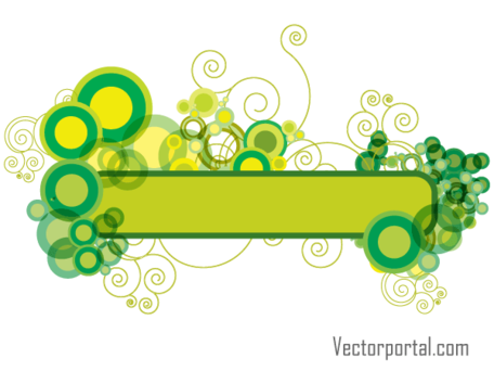 Green Abstract Floral Banner Design, Vectors.