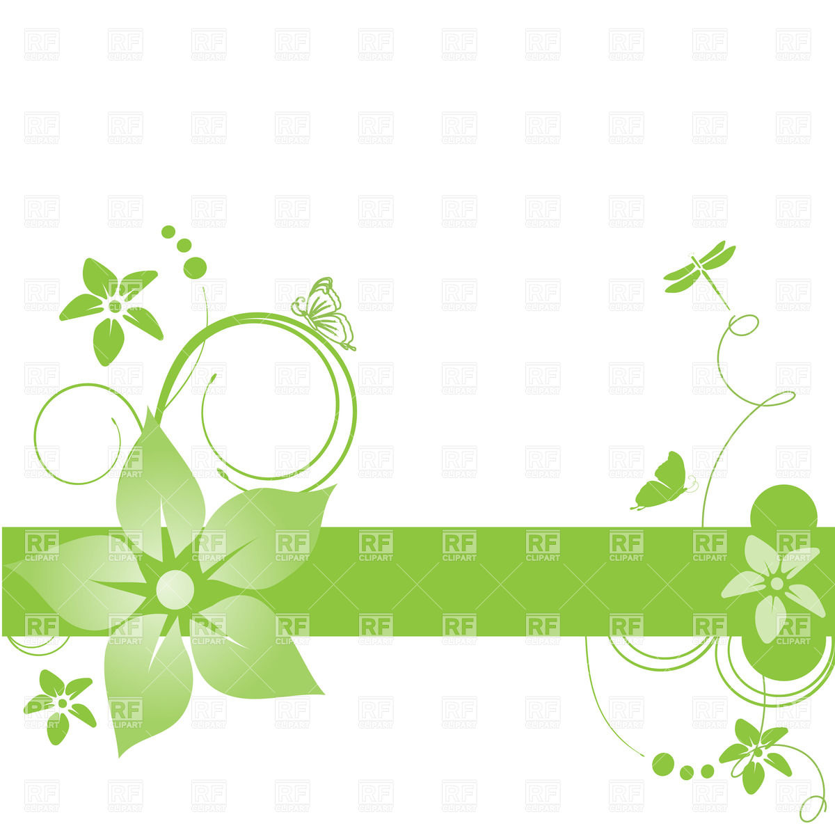 Abstract green banner with simple flowers and curls Vector Image.