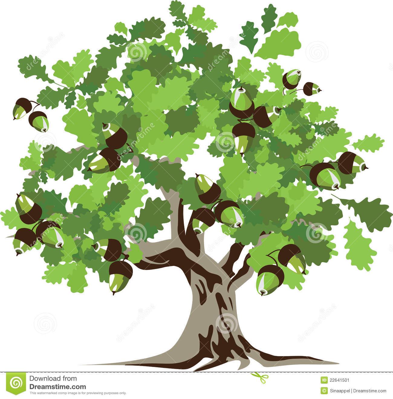 Рисунок дерева дуба с желудями 3