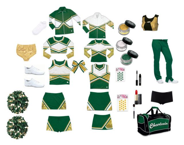 Green, Gold, and White Cheerleading Uniform in 2019.