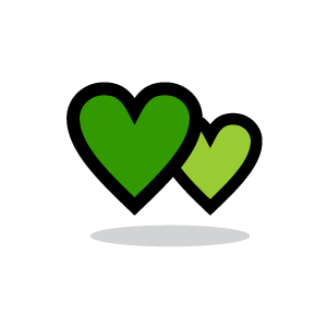 Green fancy hearts clipart.