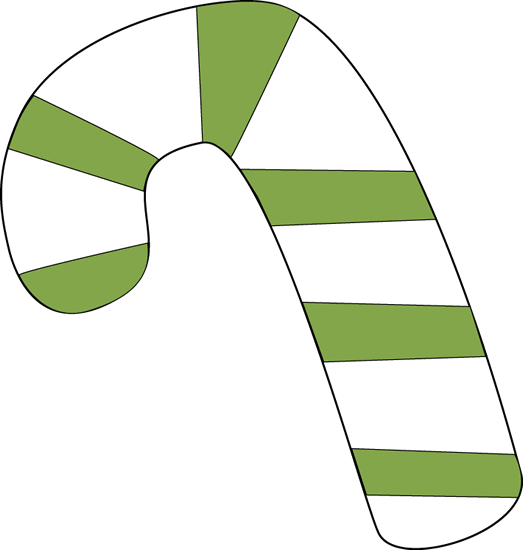 Green and White Candy Cane Clip Art.