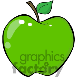 Bitten Green Apple Clipart.