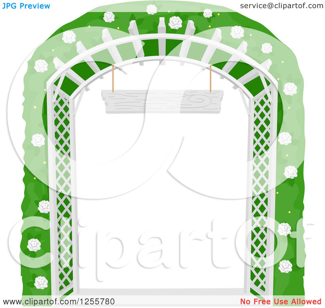 Clipart of a White Lattice Garden Trellis Arch with a Flowering.