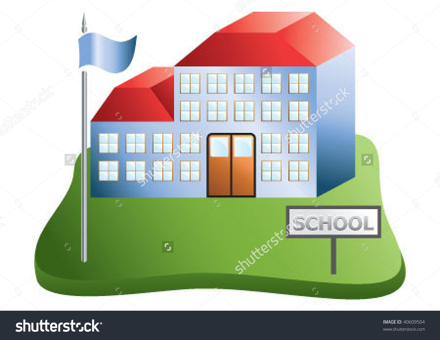 School Building On Green Area Stock Vector 40609504.