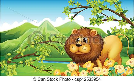 Clipart Vector of A lion in a green mountain area.