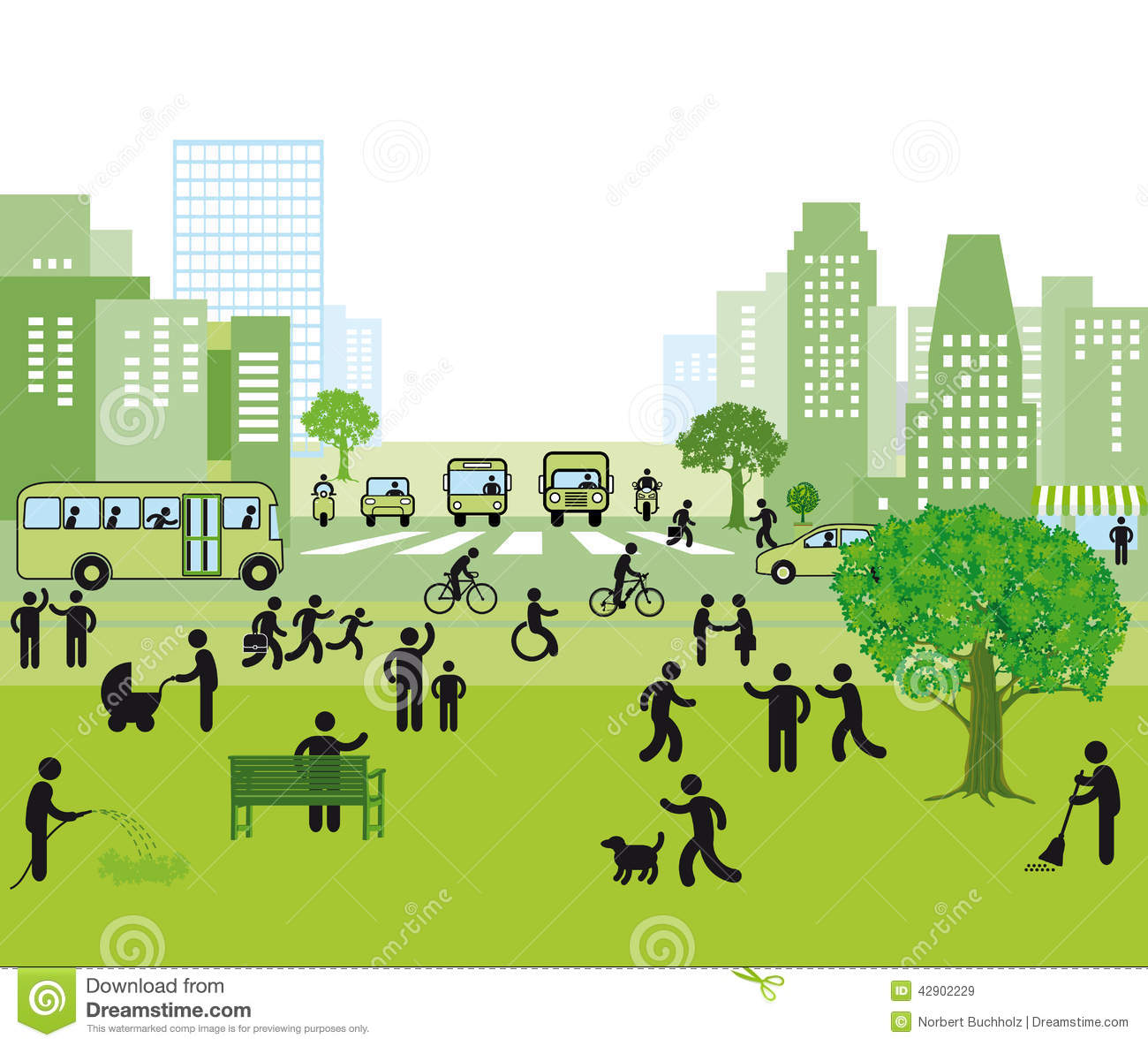 Family Friendly City Stock Vector.