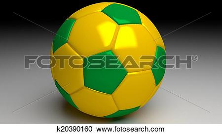 Stock Illustrations of brazil soccer ball with yellow and green.