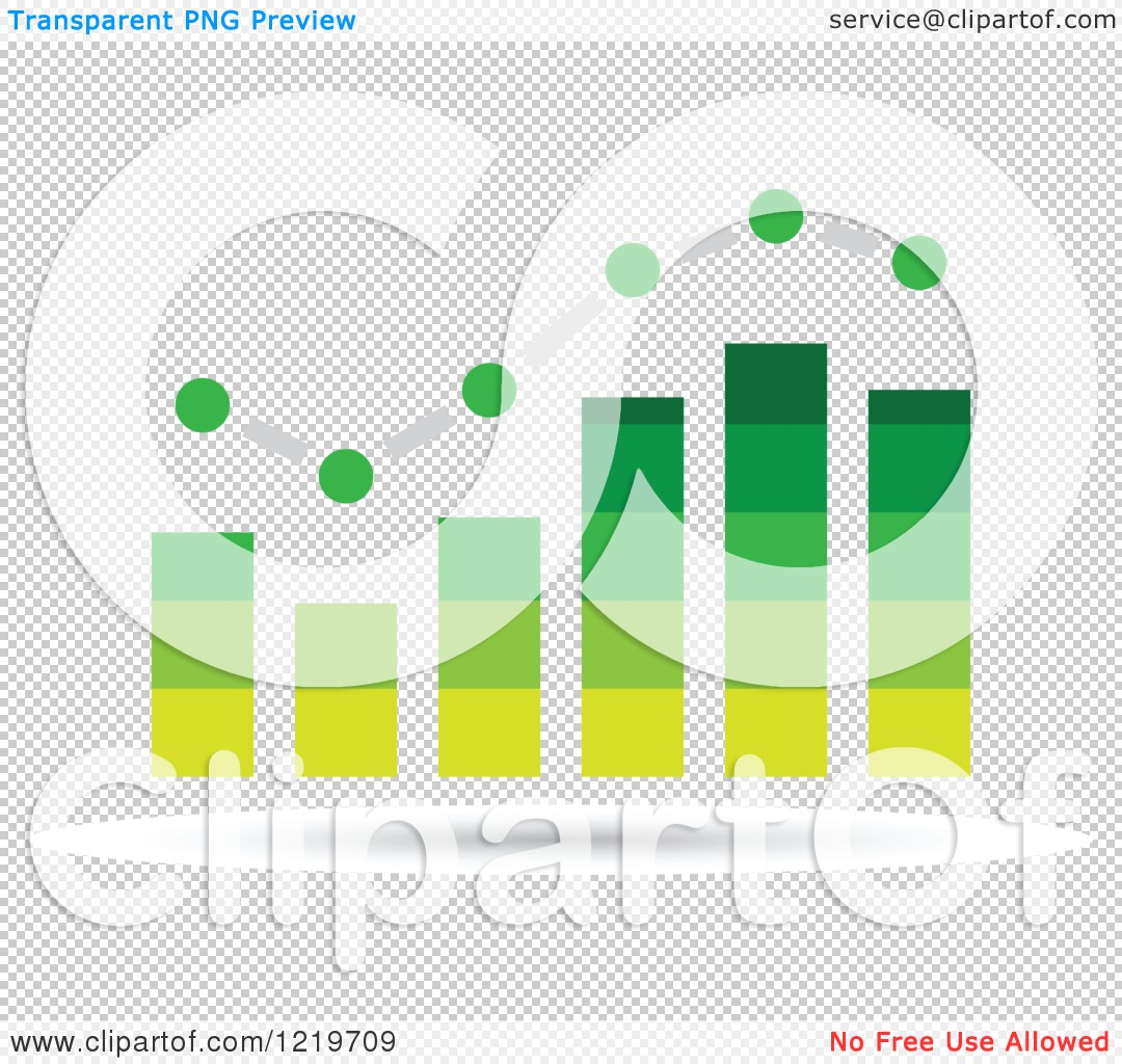 Clipart of a Green Bar Graph and Marked Areas.