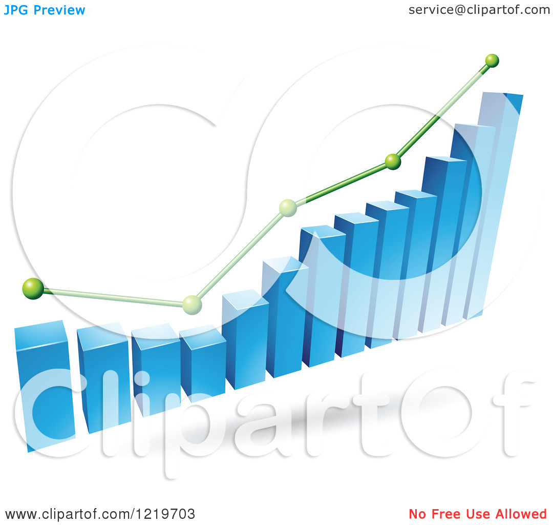 Clipart of a 3d Blue Bar Graph and Green Marked Areas.