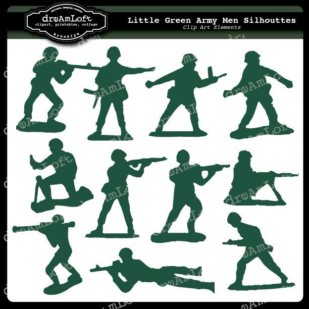 LIttle Green Army Men Clip Art for Personal and by DreAmLoft.