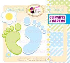 Pastel Green Baby Footprint Clipart.