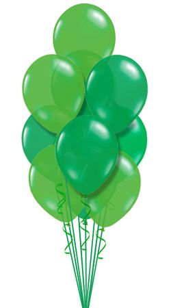 different shades of green balloons.