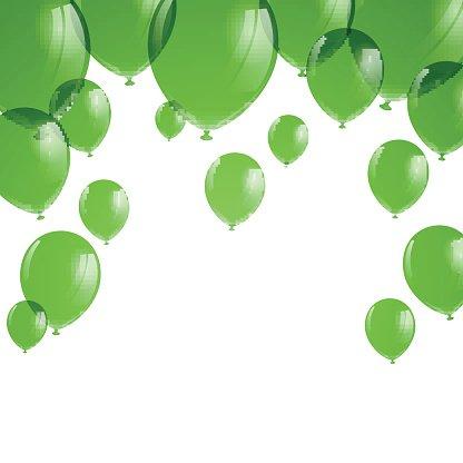 Vector Green Balloons Clipart Image.