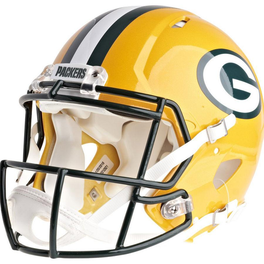 Green Bay Packers Riddell Revolution Speed Authentic Football Helmet.