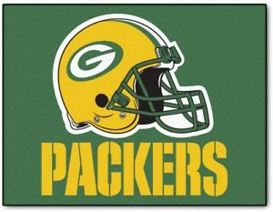Details about Green Bay Packers Accent Rug Floor Area Mat NFL Team Logo  Green Yellow Helmet.