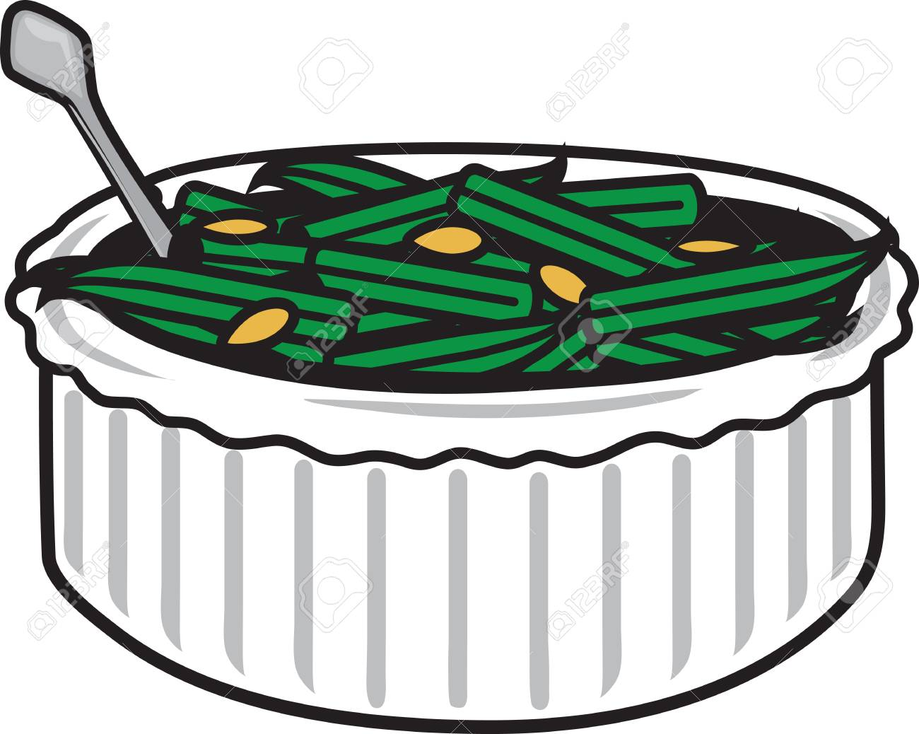 Vector illustration of a green bean casserole symbol.