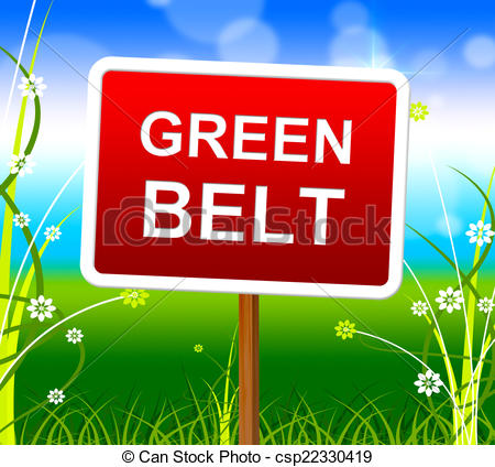 Clipart of Green Belt Shows Scene Meadow And Landscape.