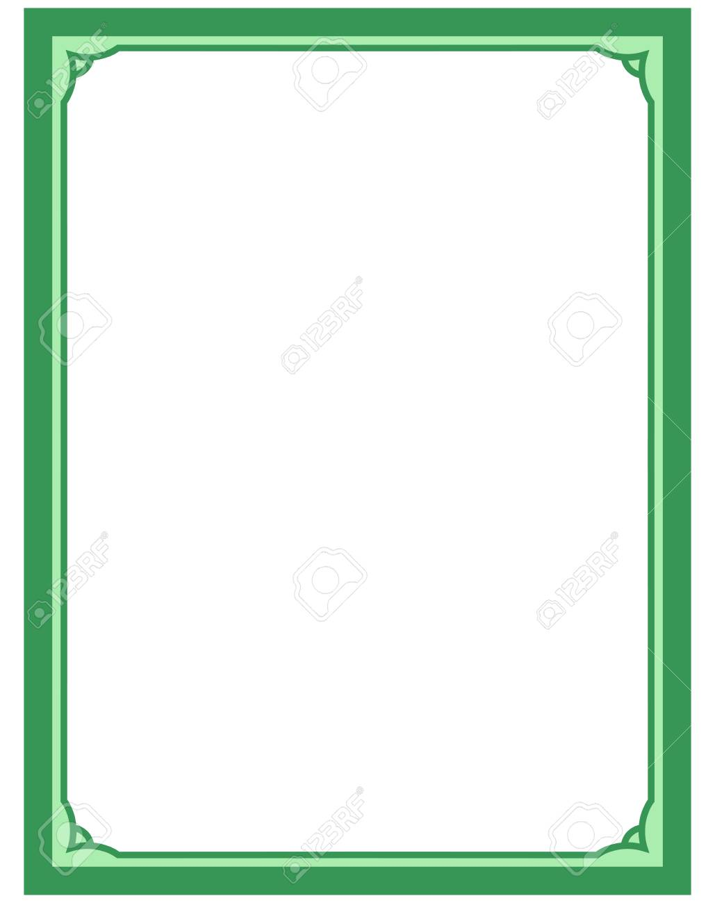 Green border frame deco vector art simple line corner.