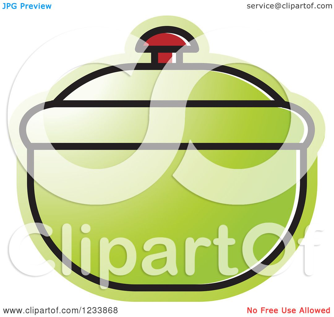 Clipart of a Green Bowl with a Lid.