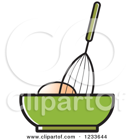 Clipart of a Whisk Egg and Green Bowl.