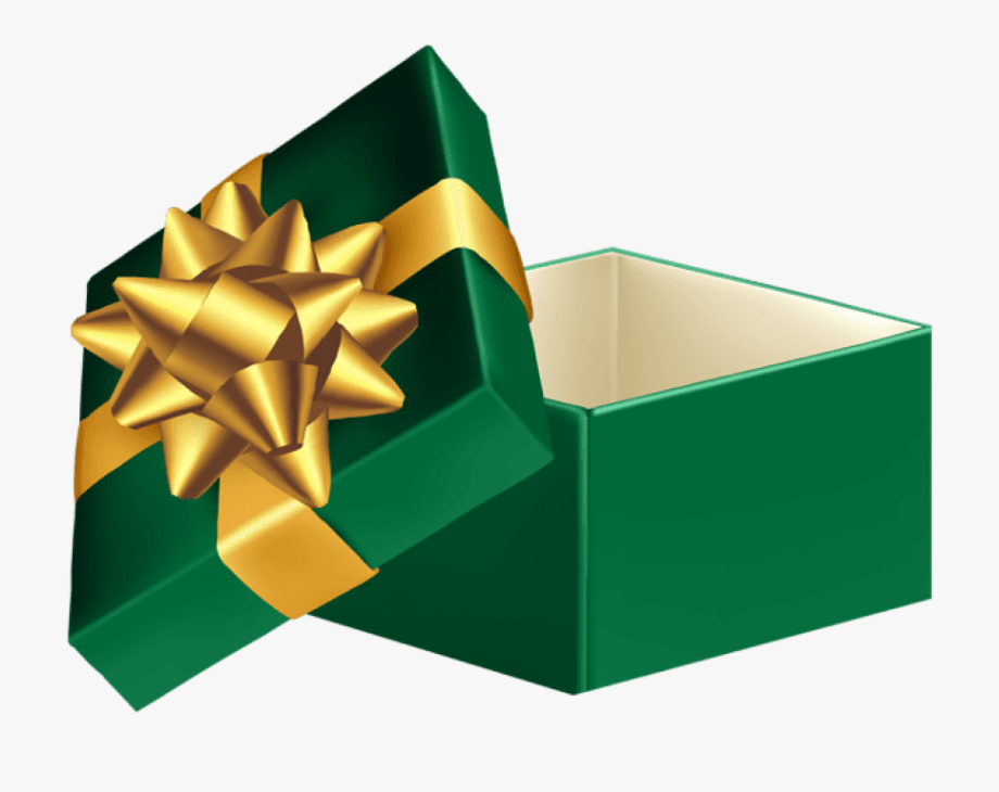 Download Green Open Gift Box Clipart Png Photo.