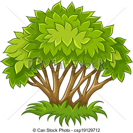 Vector Clip Art of Bush with green leaves. Eps10 vector.