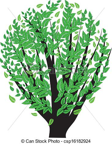 Vector Illustration of Bush with green leaves.